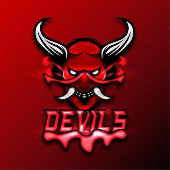 Logo de sport de mascotte de diables. effet de texte modifiable