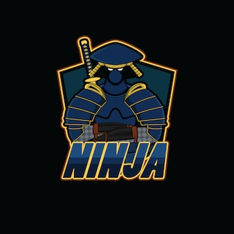 Logo de sport ninja avec fond noir