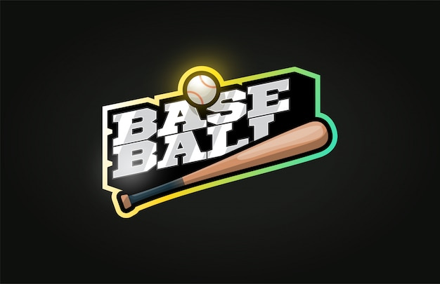Logo de sport professionnel moderne de baseball dans un style rétro