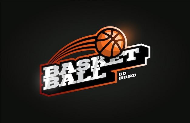 Logo de sport professionnel moderne de basket-ball dans un style rétro