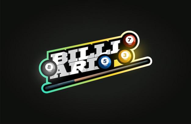 Logo de sport professionnel moderne de billard dans un style rétro