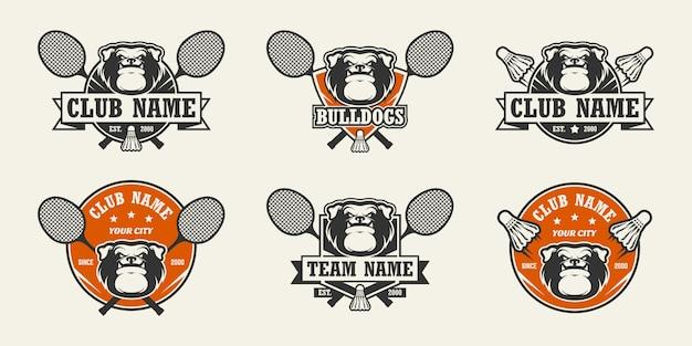 Logo de sport tête de chien bulldog. ensemble de logos de badminton.