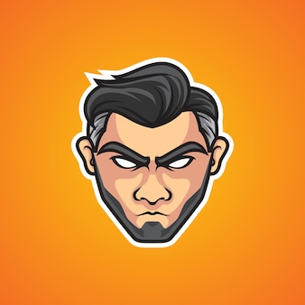 Logo de sport de tête d'homme cool