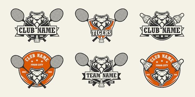 Logo de sport tête de tigre. ensemble de logos de badminton.
