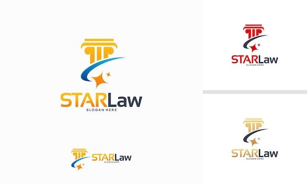 Le logo star law conçoit le concept de vecteur, modèle de logo law shiny