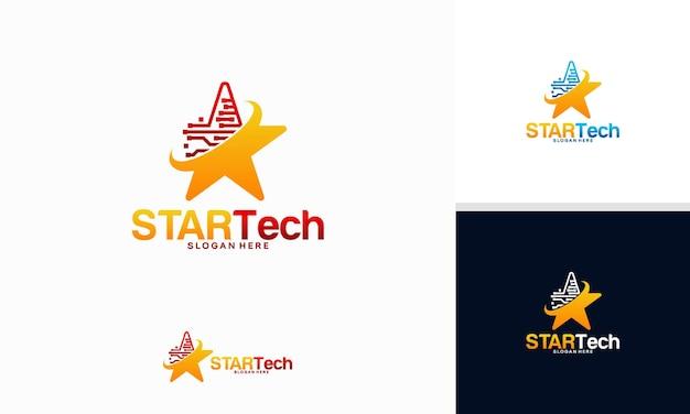 Le logo star technology conçoit le concept, vecteur de modèle de logo emblématique shine tech