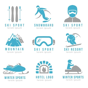 Logo de la station de ski et de l'hôtel de montagne avec ski et snowboard. ensemble de logo pour hôtel et stations de ski
