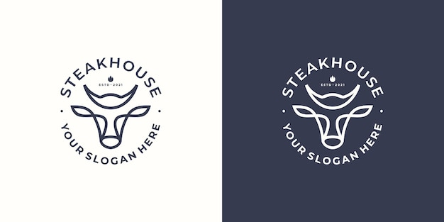 Logo de steak house avec tête de taureau. illustration vectorielle