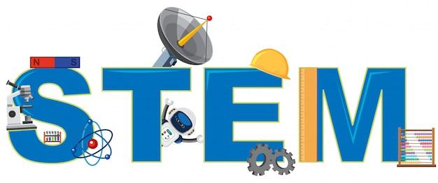 Logo stem avec des objets de l'ingénieur