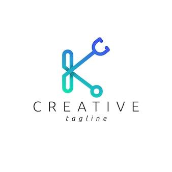 Logo stéthoscope avec lettre k couleur dégradé moderne