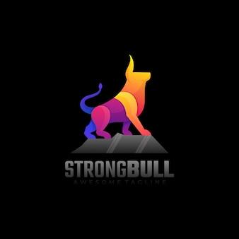 Logo strong bull gradient style coloré