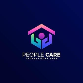 Logo de style art ligne dégradé de soins de personnes