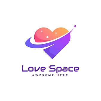 Logo de style coloré dégradé de l'espace d'amour