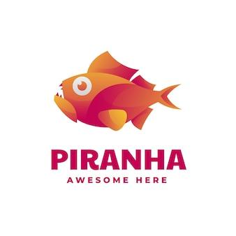 Logo de style coloré dégradé piranha