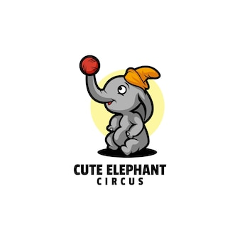 Logo de style dessin animé éléphant mascotte