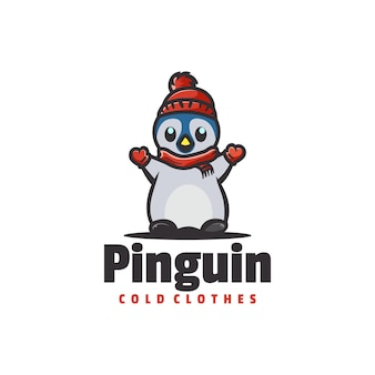 Logo de style de dessin animé de mascotte de pingouin