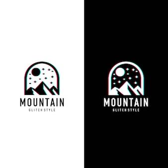Logo de style glitcher de montagne