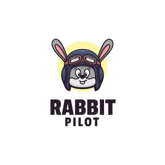 Logo de style mascotte de pilote de lapin