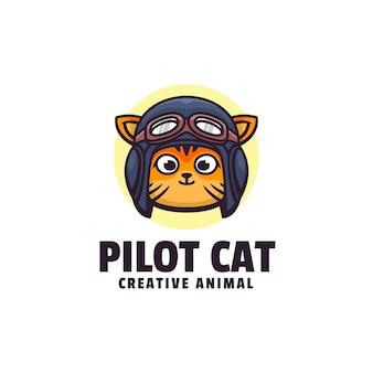 Logo de style mascotte simple chat pilote