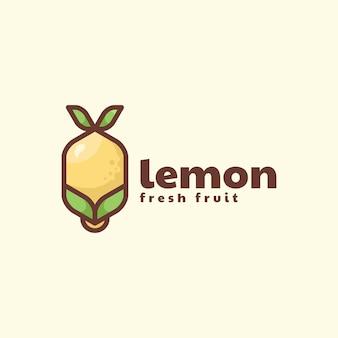 Logo de style mascotte simple citron