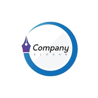Logo de stylo de cercle, entreprise, éducation et symbole de société de cabinet d'avocats