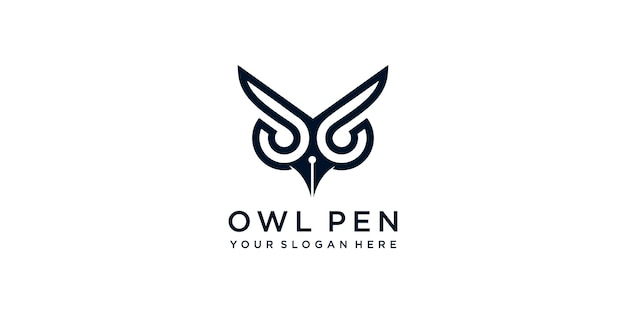 Logo de stylo hibou moderne simple vecteur premium