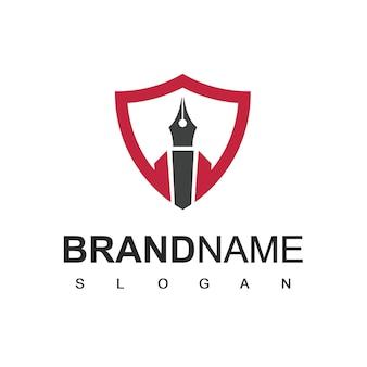 Logo de stylo, symbole d'entreprise de cabinet d'avocats