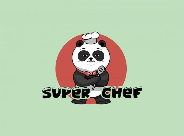Logo de super chef, modèle de cuisine, le héros a fièrement plié ses pattes. personnage drôle de panda
