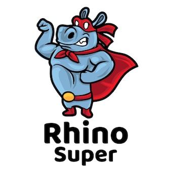 Logo Super Mascotte De Rhino Vecteur Premium