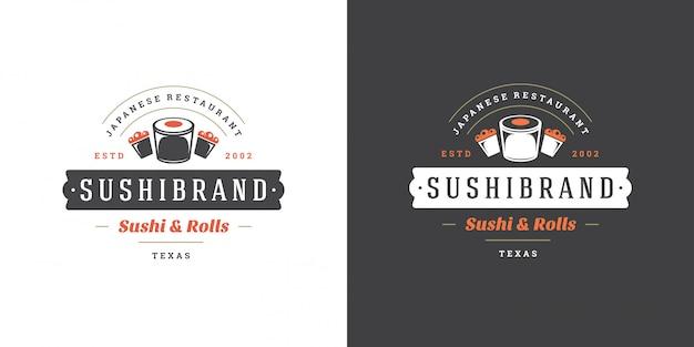Logo de sushi et insigne restaurant de cuisine japonaise avec rouleau de saumon sushi vecteur de silhouette de cuisine asiatique