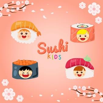 Logo de sushi mignon pour les enfants