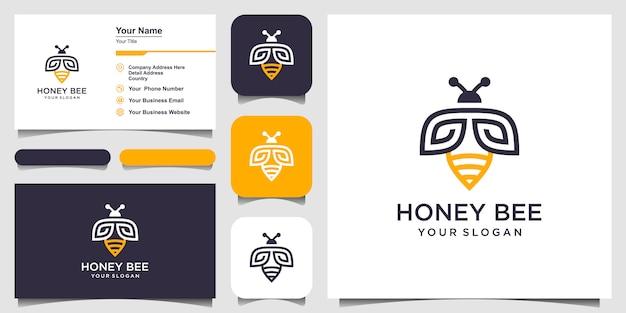 Logo de symbole créatif de miel d'abeille. logotype linéaire de travail acharné. création de logo, icône et carte de visite