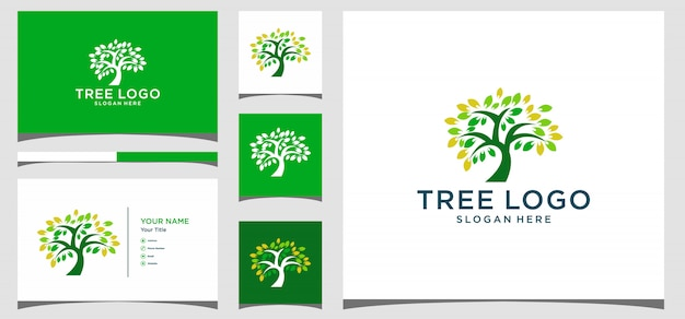 Logo de symbole icône créative arbre. création de logo, icône et carte de visite vecteur premium