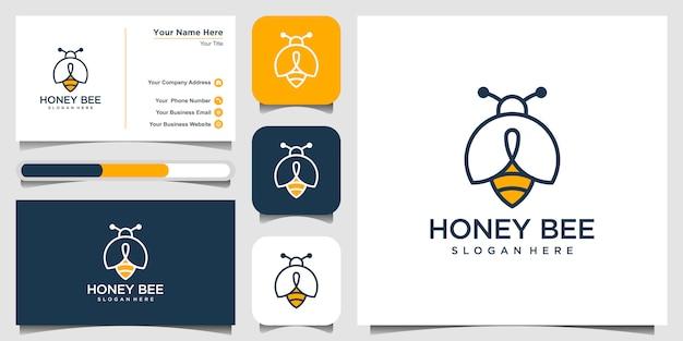 Logo de symbole icône créative miel abeille. logotype linéaire de travail acharné. conception de carte de visite