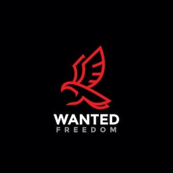 Logo de symbole de liberté oiseau minimaliste
