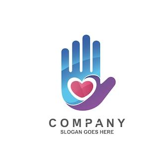 Logo de symbole de main et de coeur
