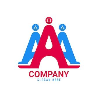 Un logo avec le symbole rond de tête carrée de triangle