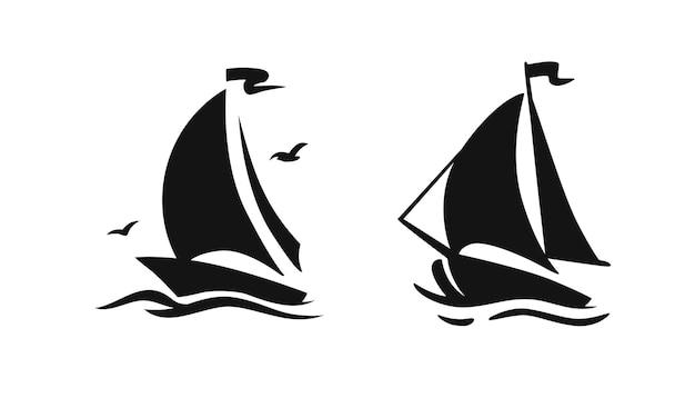 Logo de symbole de voilier de bateau à voile