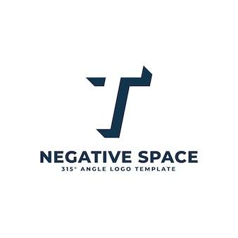 Logo t moderne espace négatif propre lettre géométrique illustration vectorielle