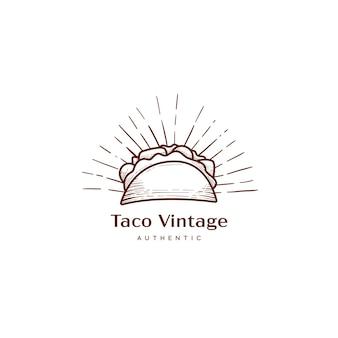 Logo de taco nacho dans l'illustration de l'icône de style ancien vintage