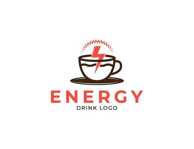 Logo de tasse de café avec illustration de boisson énergisante et éclair