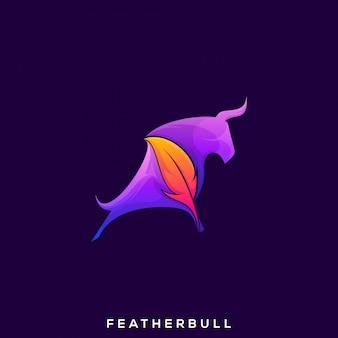 Logo de taureau en plumes génial