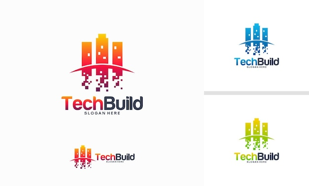 Le logo tech build conçoit le vecteur de concept, modèle de logo pixel build