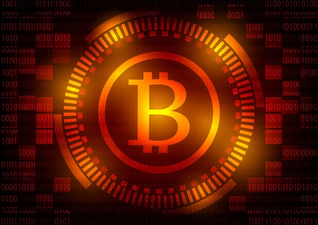 Logo de technologie abstraite bitcoins sur fond d'engrenage rouge.