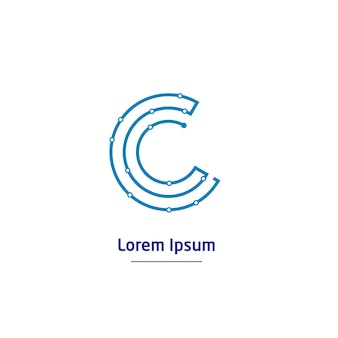 Logo de la technologie de circuit lettre c