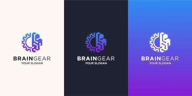 Logo de technologie combinée cerveau et engrenage