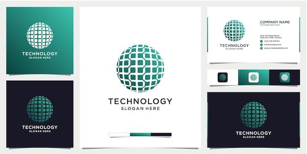 Logo de technologie de dégradé avec modèle de conception de carte de visite