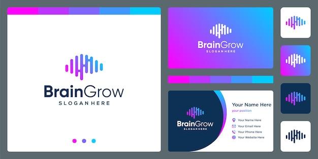 Logo de la technologie du cerveau avec flèche d'investissement de croissance et modèle de conception de carte de visite