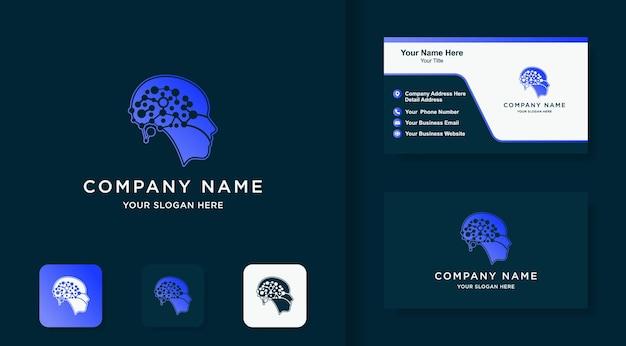 Le logo de la technologie du cerveau de la tête utilise le concept de molécule de point et la carte de visite