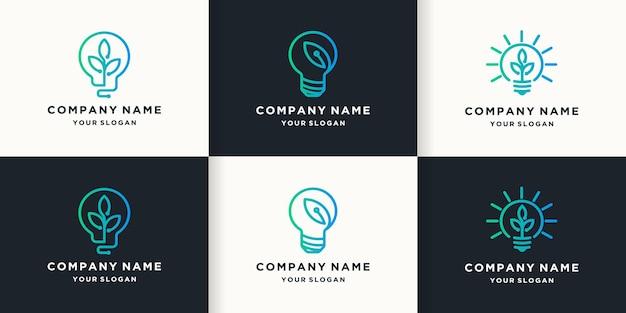 Logo de technologie de feuille intelligente, logo de combinaison de feuilles d'ampoule